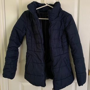 Navy blue puffer jacket